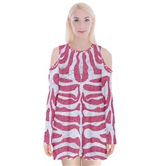 Skin2 White Marble & Pink Denim Velvet Long Sleeve Shoulder Cutout Dress