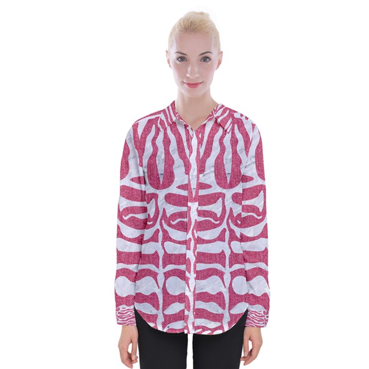 SKIN2 WHITE MARBLE & PINK DENIM Womens Long Sleeve Shirt