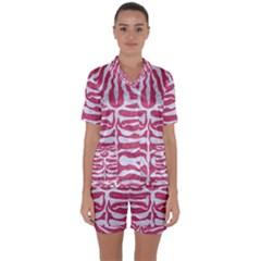 SKIN2 WHITE MARBLE & PINK DENIM Satin Short Sleeve Pyjamas Set