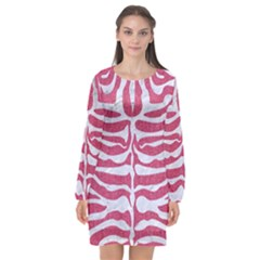 SKIN2 WHITE MARBLE & PINK DENIM Long Sleeve Chiffon Shift Dress