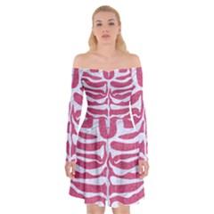 SKIN2 WHITE MARBLE & PINK DENIM Off Shoulder Skater Dress
