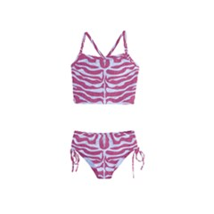 Skin2 White Marble & Pink Denim Girls  Tankini Swimsuit