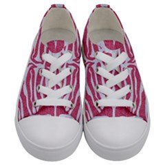 Skin2 White Marble & Pink Denim Kids  Low Top Canvas Sneakers