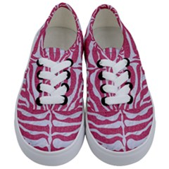 Skin2 White Marble & Pink Denim Kids  Classic Low Top Sneakers