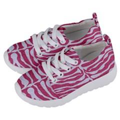 SKIN2 WHITE MARBLE & PINK DENIM Kids  Lightweight Sports Shoes