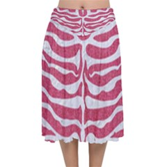Skin2 White Marble & Pink Denim Velvet Flared Midi Skirt
