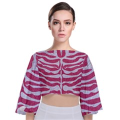 Skin2 White Marble & Pink Denim Tie Back Butterfly Sleeve Chiffon Top