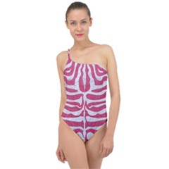 SKIN2 WHITE MARBLE & PINK DENIM Classic One Shoulder Swimsuit