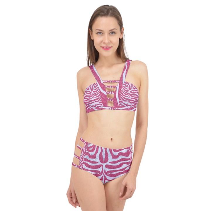 SKIN2 WHITE MARBLE & PINK DENIM Cage Up Bikini Set