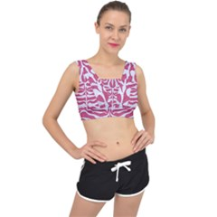 Skin2 White Marble & Pink Denim V Back Sports Bra