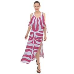 Skin2 White Marble & Pink Denim Maxi Chiffon Cover Up Dress