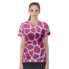 Skin1 White Marble & Pink Denim (r) Women s Sport Mesh Tee