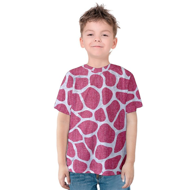 SKIN1 WHITE MARBLE & PINK DENIM (R) Kids  Cotton Tee