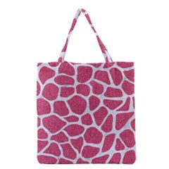 SKIN1 WHITE MARBLE & PINK DENIM (R) Grocery Tote Bag