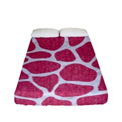 Skin1 White Marble & Pink Denim (r) Fitted Sheet (full/ Double Size)