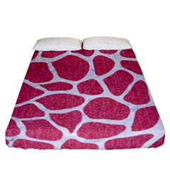 SKIN1 WHITE MARBLE & PINK DENIM (R) Fitted Sheet (Queen Size)