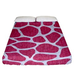 SKIN1 WHITE MARBLE & PINK DENIM (R) Fitted Sheet (King Size)