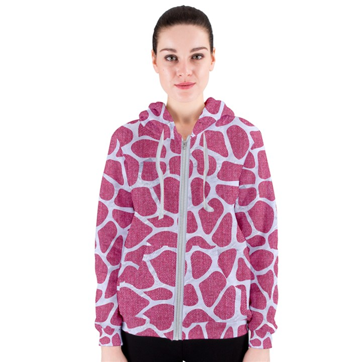 SKIN1 WHITE MARBLE & PINK DENIM (R) Women s Zipper Hoodie