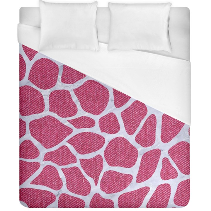 SKIN1 WHITE MARBLE & PINK DENIM (R) Duvet Cover (California King Size)