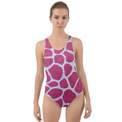 SKIN1 WHITE MARBLE & PINK DENIM (R) Cut-Out Back One Piece Swimsuit
