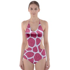 SKIN1 WHITE MARBLE & PINK DENIM (R) Cut-Out One Piece Swimsuit