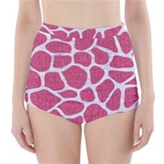 Skin1 White Marble & Pink Denim (r) High Waisted Bikini Bottoms