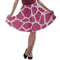 Skin1 White Marble & Pink Denim (r) A Line Skater Skirt