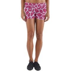 Skin1 White Marble & Pink Denim (r) Yoga Shorts