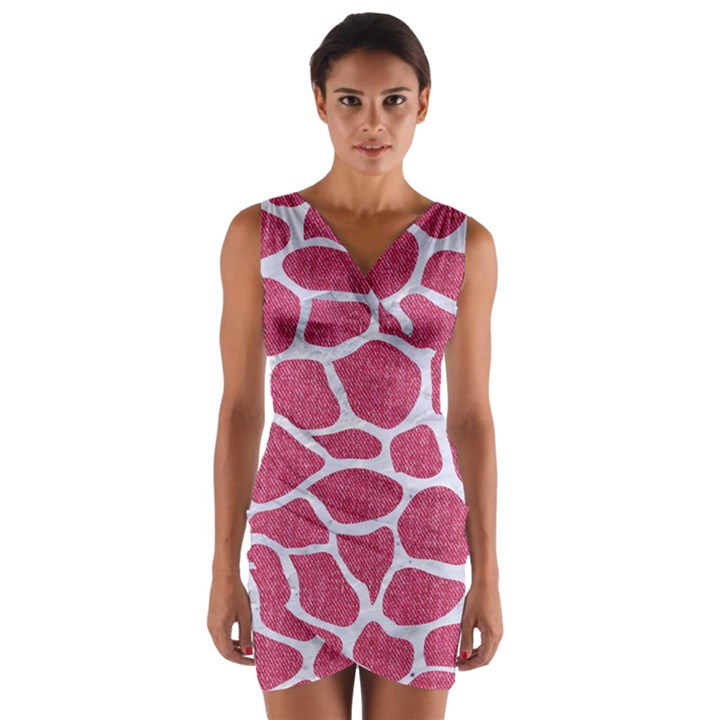 SKIN1 WHITE MARBLE & PINK DENIM (R) Wrap Front Bodycon Dress