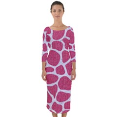 Skin1 White Marble & Pink Denim (r) Quarter Sleeve Midi Bodycon Dress