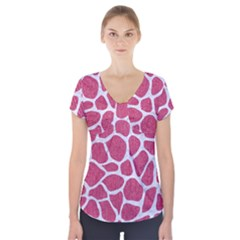 SKIN1 WHITE MARBLE & PINK DENIM (R) Short Sleeve Front Detail Top