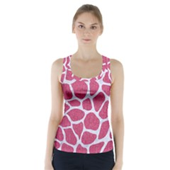 SKIN1 WHITE MARBLE & PINK DENIM (R) Racer Back Sports Top