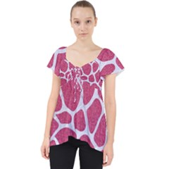 Skin1 White Marble & Pink Denim (r) Lace Front Dolly Top