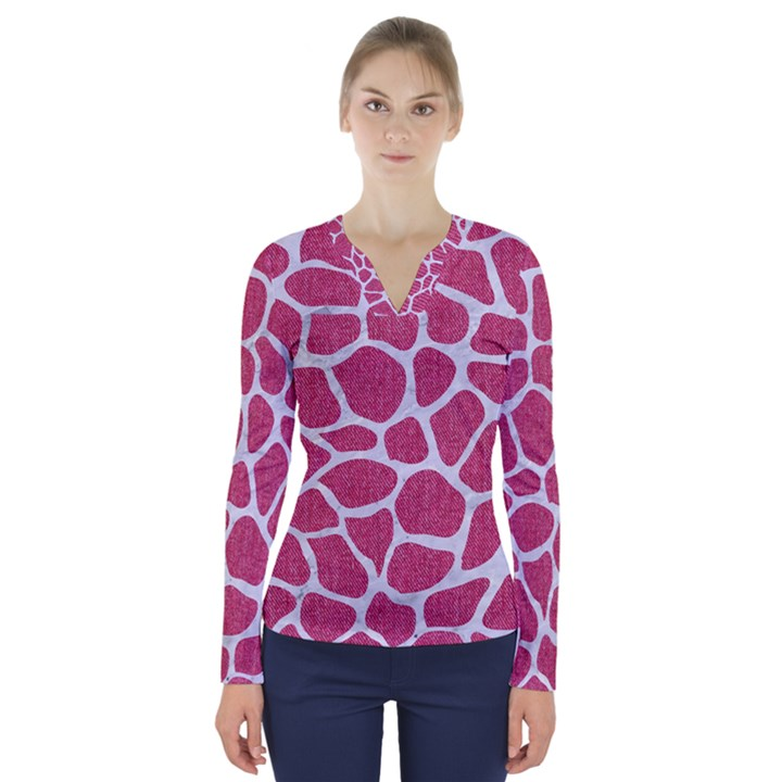 SKIN1 WHITE MARBLE & PINK DENIM (R) V-Neck Long Sleeve Top