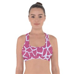 Skin1 White Marble & Pink Denim (r) Cross Back Sports Bra