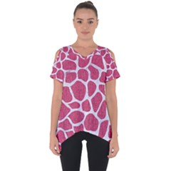 SKIN1 WHITE MARBLE & PINK DENIM (R) Cut Out Side Drop Tee