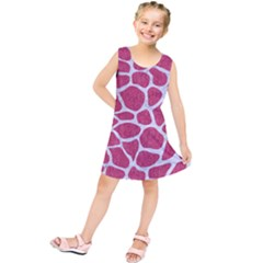 Skin1 White Marble & Pink Denim (r) Kids  Tunic Dress