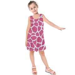 Skin1 White Marble & Pink Denim (r) Kids  Sleeveless Dress