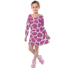 Skin1 White Marble & Pink Denim (r) Kids  Long Sleeve Velvet Dress