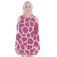 Skin1 White Marble & Pink Denim (r) Velvet Long Sleeve Shoulder Cutout Dress