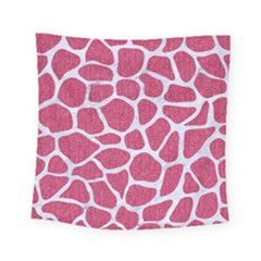 Skin1 White Marble & Pink Denim (r) Square Tapestry (small)