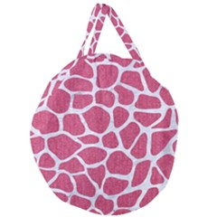 SKIN1 WHITE MARBLE & PINK DENIM (R) Giant Round Zipper Tote