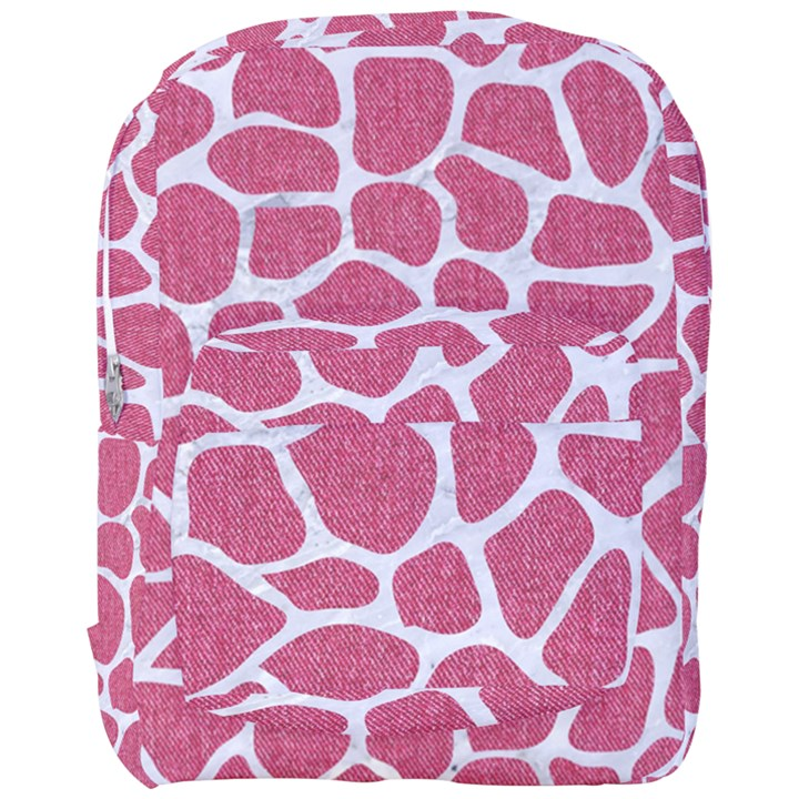 SKIN1 WHITE MARBLE & PINK DENIM (R) Full Print Backpack