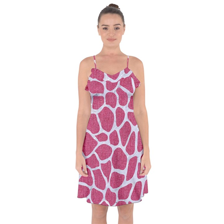 SKIN1 WHITE MARBLE & PINK DENIM (R) Ruffle Detail Chiffon Dress