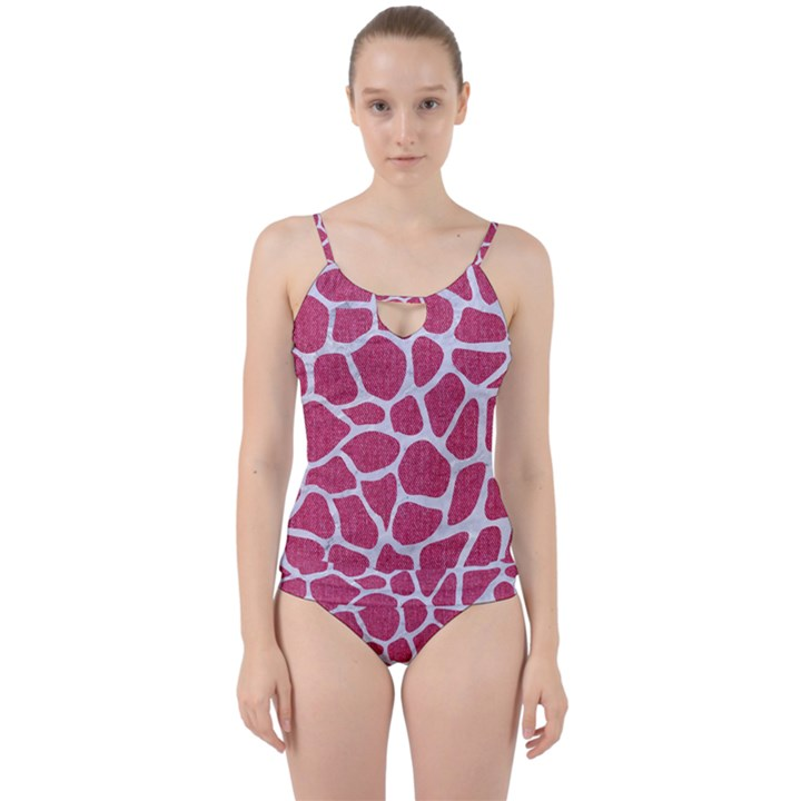 SKIN1 WHITE MARBLE & PINK DENIM (R) Cut Out Top Tankini Set
