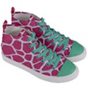 SKIN1 WHITE MARBLE & PINK DENIM (R) Women s Mid-Top Canvas Sneakers View3