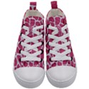 SKIN1 WHITE MARBLE & PINK DENIM (R) Kid s Mid-Top Canvas Sneakers View1