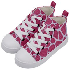 SKIN1 WHITE MARBLE & PINK DENIM (R) Kid s Mid-Top Canvas Sneakers