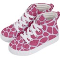 SKIN1 WHITE MARBLE & PINK DENIM (R) Kid s Hi-Top Skate Sneakers View2