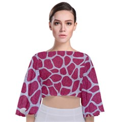 SKIN1 WHITE MARBLE & PINK DENIM (R) Tie Back Butterfly Sleeve Chiffon Top